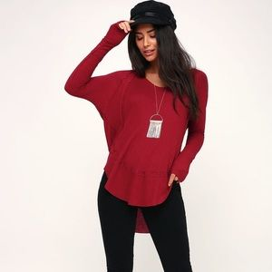 Free People Red Thermal Top Catalina